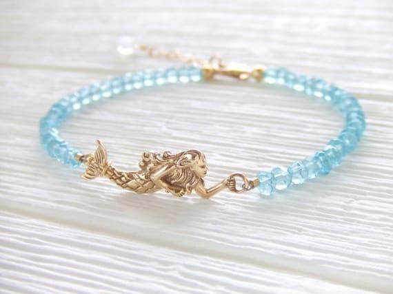 Calypso Mermaid Jewelry Bracelet - Aqua Cubic Rondelles - Gold Filled Bracelet