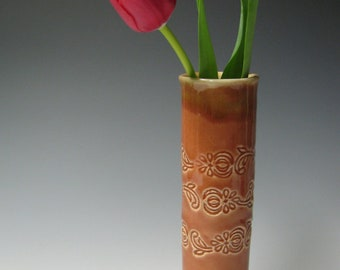 Pomegranate bud vase in coral red