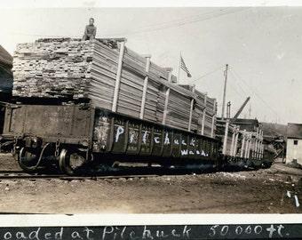 vintage photo 1918 Lumber Boy on Railcar Folk ARt Writing on photo