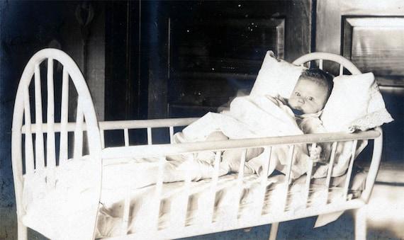 vintage photo Baby Harriet 12 wks old in Cradle