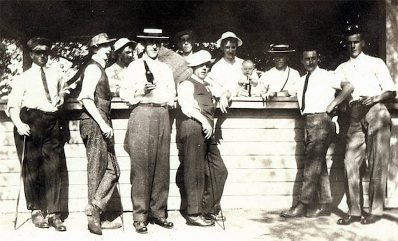 vintage photo 1909 Men Group at the Cigar Stand w Beer Baby and Smokes