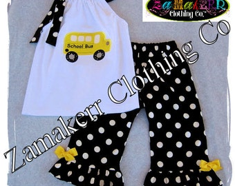 Girl Back To School Clothing Outfit Pageant 24 MONTH SIZE 2T 3T 4T 5T 6 7 8 School Bus 1st day of Kindergarten Preschool Top Pant Set Gift