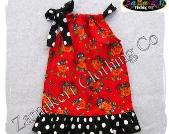 Toddler Girl Pumpkin Pillowcase Dress - Halloween Girl Dress - Pumpkin Ruffle Dress - 3 6 9 12 18 24 month size 2T 2 3T 3 4T 4 5T 5 6 7 8