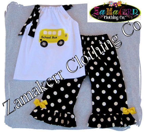 ... School Bus 1st day of Kindergarten Preschool Top Pant Set Gift