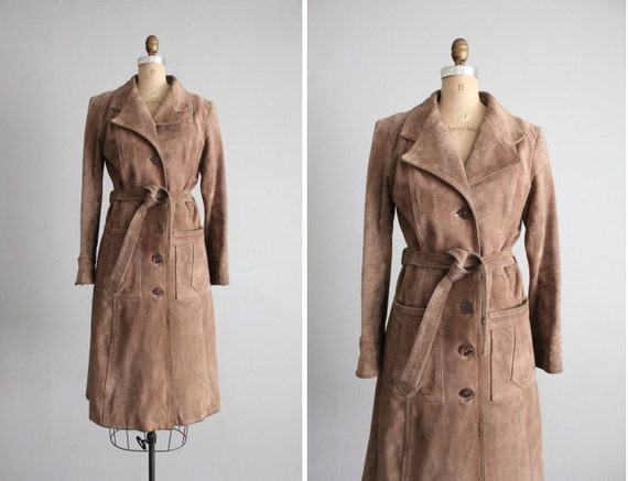1970s vintage fallow suede trench coat