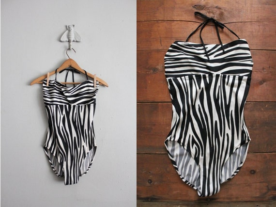 vintage zebra stripe halter swimsuit