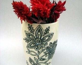 Henna Design Vase, Hindu Vase, Textured Vase - Handmade Stoneware Pottery