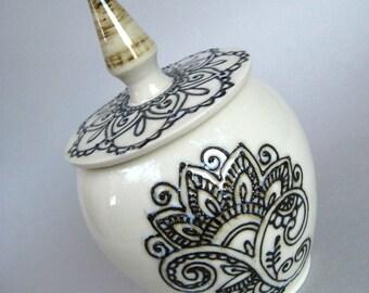 Henna Design Spice Jar, Henna Jar, Floral Henna Design - Handmade Stoneware Pottery