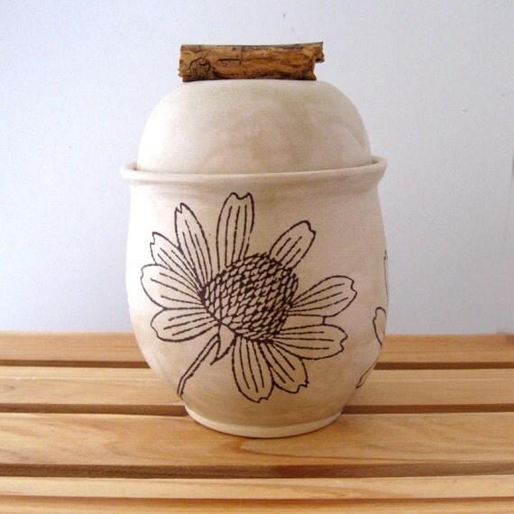 Lidded Jar - Wildflower - 20 oz  - Wheel Thrown Pottery - Stoneware