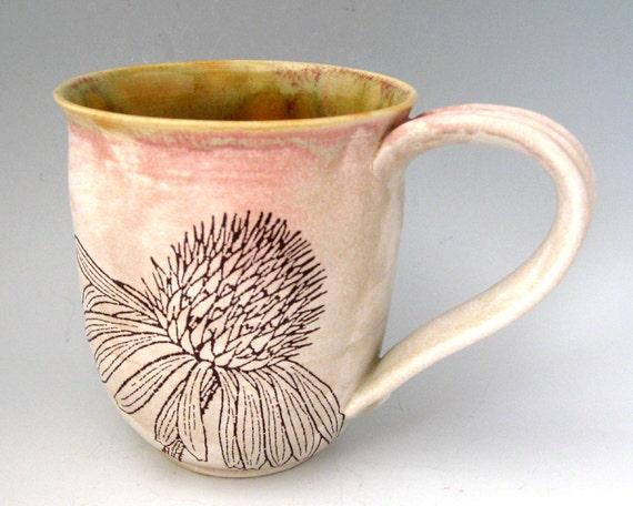 Ceramic Mug - Wild Flowers  -  13 oz  - Hand  Thrown Stoneware