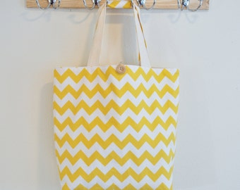 Roll Up Market Bag - Medium Chevron in Yellow