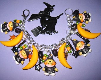 Witch Charm Bracelet Halloween Jewelry Vintage & New Moon Beads Charms Trinkets OOAK Eclectic Statement Piece Novelty Halloween Bracelet