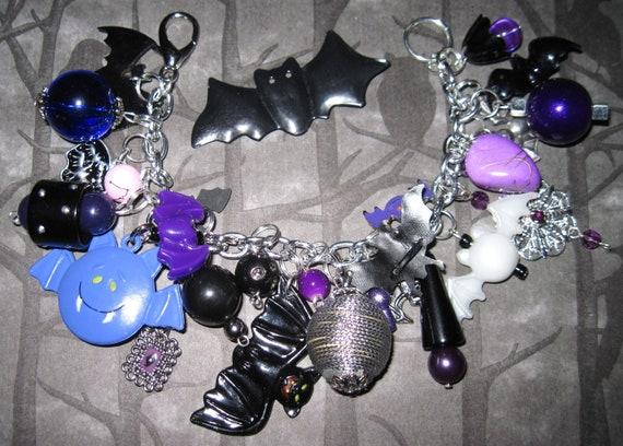Halloween Jewelry Bat Charm Bracelet Beads Trinkets OOAK Eclectic Statement Piece Spooky Psychobilly Goth Punk Rock Costume Accessory