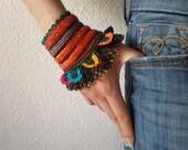 Watsonia Fulgens   ... Freeform Crochet Cuff - Flowers -  Orange Red Gray Black Green - Beaded Beadwork