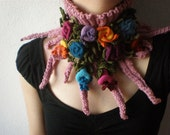 Elan ... Knitted Neckwarmer / Scarflette - Dusted Rose Pink - Colorful Flowers