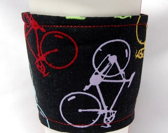 Coffee Cozy/Cup Sleeve Eco Friendly Slip-on, Teacher Appreciation, Co-Worker Gift, Bulk Discount: Bicycles on Black