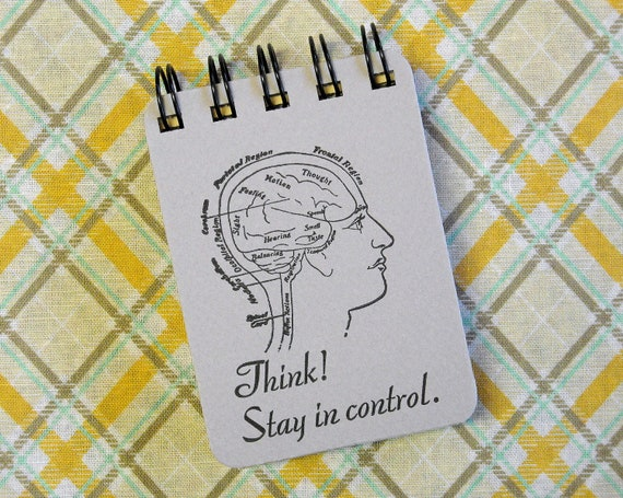 Letterpress Journal -  Spiral Bound Sketch Book - ACEO ATC sized - Think - Stay in Control