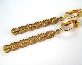 Leaf Column Clip On Earrings, Brass Leaves, Gold Ear Clips, Simple Straight Golden Earrings, Layered Leaf Lightweight Long Clipons