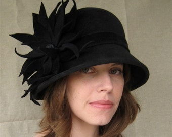 Charcoal Gray Felt Hat with Large Flower, Handmade Millinery Womens Hat, Winter in the City