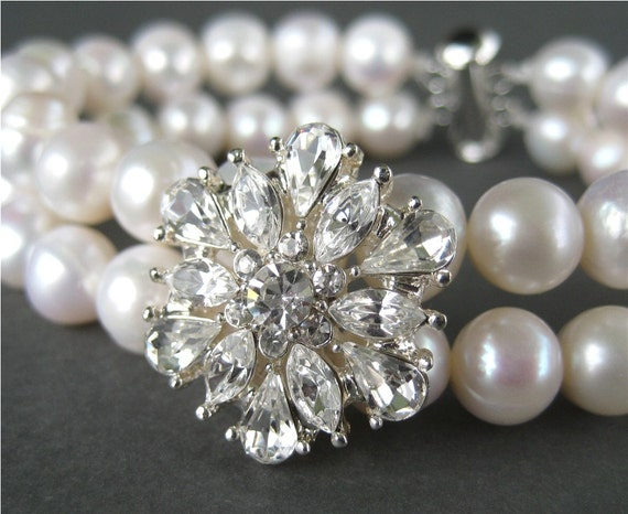Rhinestone Snowflake Wedding Bracelet, 2 Strand White Pearl Bracelet, Silver, Handmade, Snow Bride