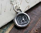 Tiny Greyhound Wax Seal Necklace, Greyhound Wax Seal Pendant in eco freindly fine silver, Greyhound Jewelry