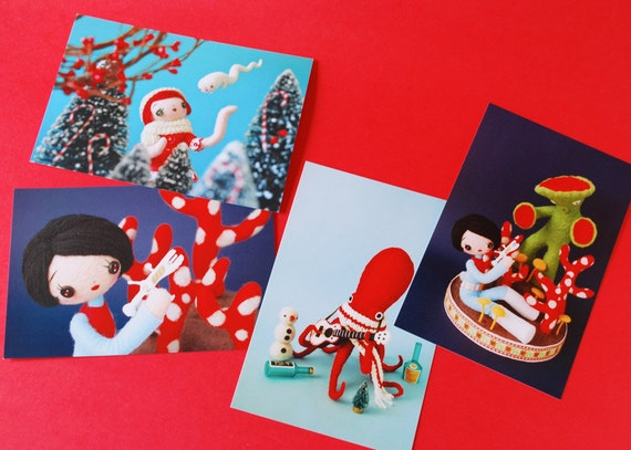 Postcard Set -Girls, Octopus and Alien (with free stickers)