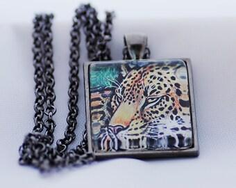 Leopard Necklace, Gunmetal Black, Fine Art Print, Photo Jewelry