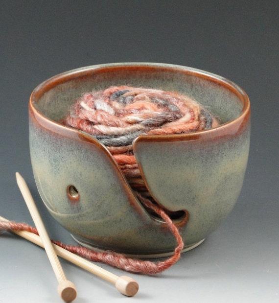 Yarn Bowl in Multi-Hued Blues, Greens & Caramel