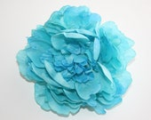 Soft Silk Peony in Turquoise Aqua Blue - 5.5 inches -- Silk Artificial Flower