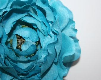 Dry Look Ruffle Ranunculus in bright Aqua Blue - 4 inches - silk artificial flowers - ITEM 0232