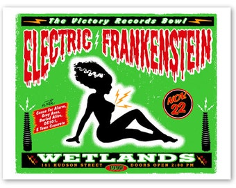 Electric FRANKENSTEIN mudflap girl rock concert POSTER, screenprinted new york gigposter nyc