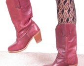 vintage 70s DEXTER burgundy pull on campus western womans stacked heel cowboy cowgirl boots sz us 6 1/2