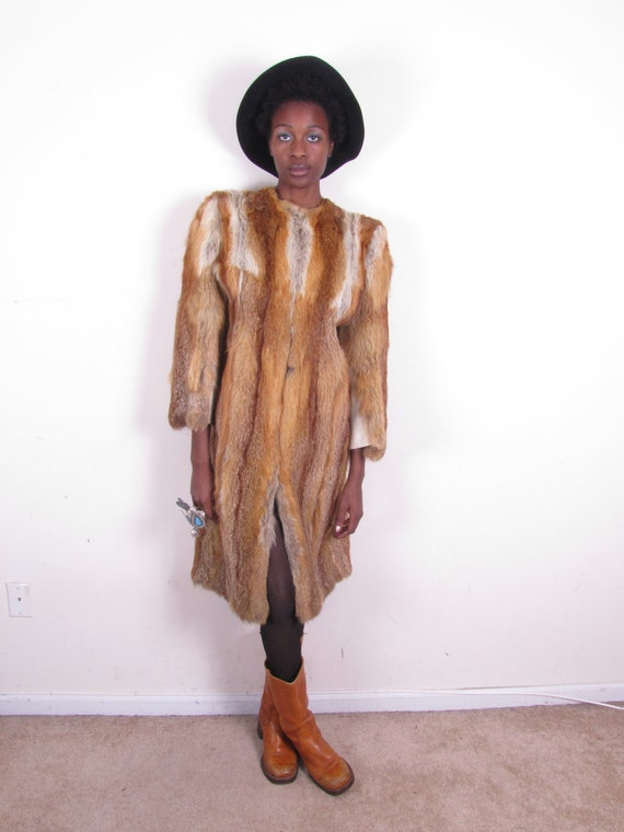 RESERVED// Totally aMaZInG 40s 50s vintage red fox leather bell sleeves full length fur SKINNY coat jacket sz xs-sm