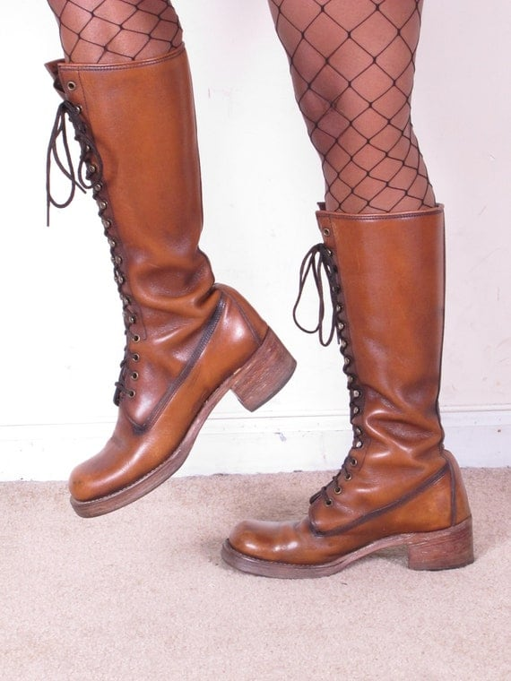 vintage 70s tanned leather lace up FRYE stacked heel boots sz womans us 7 1/2-8