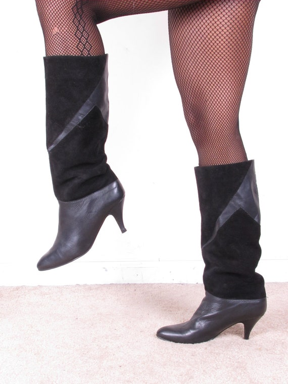 vintage 80s tall suede and leather spike stiletto pixie heel pull up tall black leather boots womens sz 9