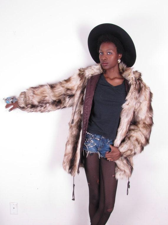 Vintage 80s OVERSIZED Yeti Goat Nanny Kidskin Long Fur Hair Vest Coat Jacket xs-lg