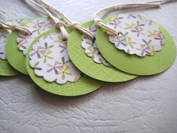 Gift Tag set of 6 - Lime Green Purple flowers - Double layered tags