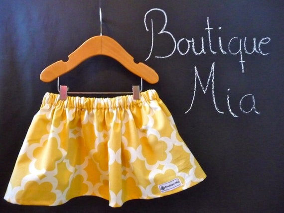 SAMPLE - Children Skirt - Yellow - Will fit Size 6 month up to 12-24 month - by Boutique Mia and More - Ready To Ship