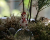 Artisan glass lampwork fairy garden snowman ... Too hot to be so cool ... terrarium fairy garden miniature by simply cindy