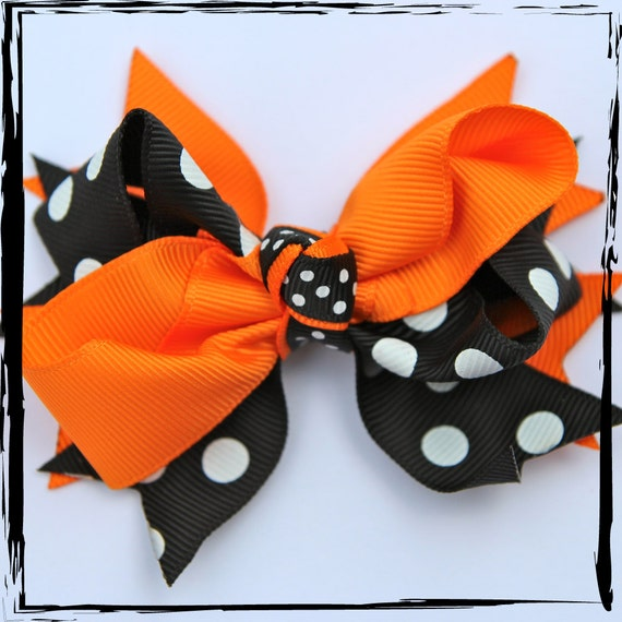 BOUTIQUE HAIR BOW Double Layer Halloween Dots