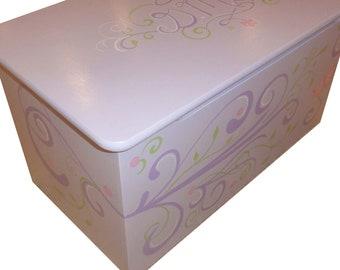 Childrens wooden toy box - Girly purple swirls