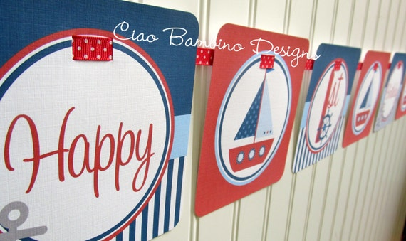 Sailboat Happy Birthday Banner / Navy Blue, Pastel Blue and Red Nautical Banner / Personalized with Name and Age