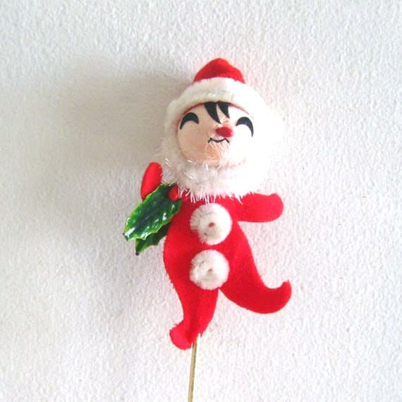 Vintage Christmas Decoration Cute Santa Claus on Stick Pick