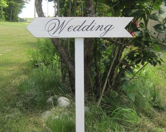 Rustic Wedding Sign Decoration Directional Arrow Wood Ceremony Stake Included Country Road Signs Weddings
