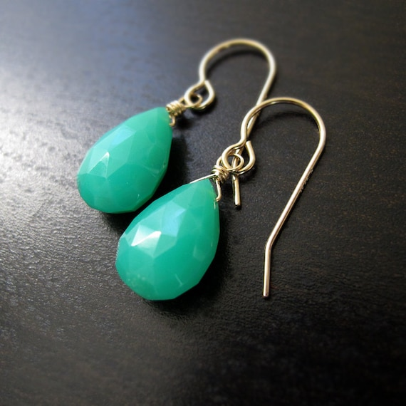Chrysoprase Large Drop Earrings