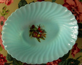 Vintage Turquoise Teal 50s Bowl Made in Hong Kong Plastic FREE SHIPPING