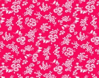 Pam Kitty Love - Cherry Floral Birds - 1 Yard for 9.75