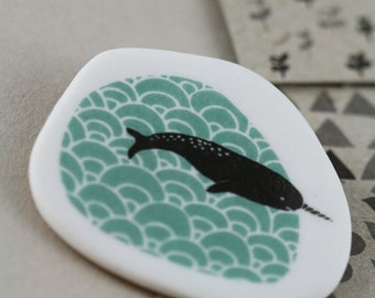 Friendly Narwhal - Black - Porcelain Brooch