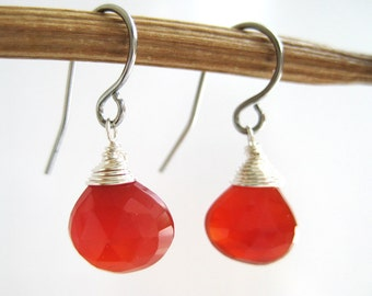 Silver Red Earrings - bridesmaid earrings, small drop gemstone wire wrapped, July birthstone - Orange Carnelian