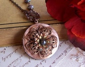 Long Vintage Locket Necklace - Pearl Locket Necklace, Keepsake Pendant, Flower Locket, Genuine Peacock Pearl - 3092